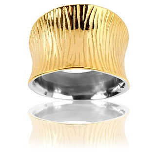 Goldplated Stainless Steel Wide Concave Grooved Ring