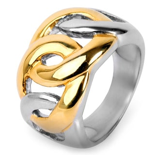Goldplated Stainless Steel Oval Chain Link Ring