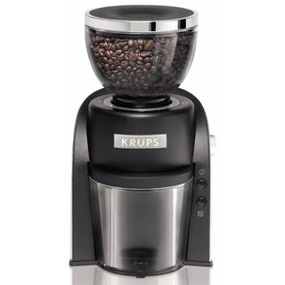 Krups GX600050 Black Conical Burr Coffee Grinder with Grind Size and Cup Selection
