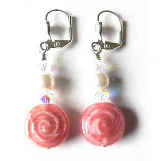 'LeeAnne' Pink Swirl Dangle Earrings