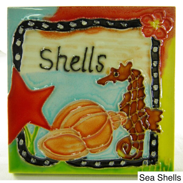 Hand Crafted At The Beach Art Tile
