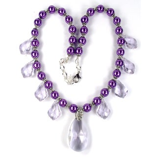 Silverplated Dark Plum Glass Pearl and Violet Crystal Jewelry Set