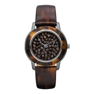DKNY Women's Tortoise Shell/ Pave Dial Brown Watch
