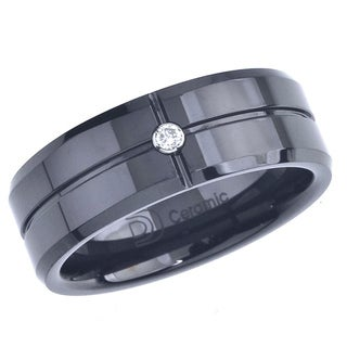 Black Ceramic Men's Diamond Accent Band