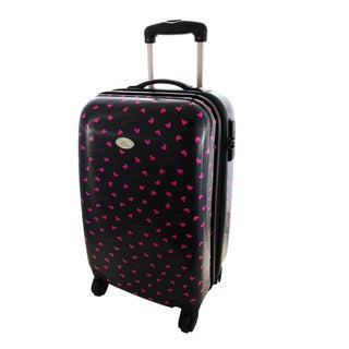Jacki Design Glitzy Heart 22-inch Hardside Carry-on Spinner Upright