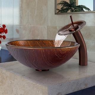 Vigo Kenyan Twilight Glass Vessel Sink and Waterfall Faucet Set