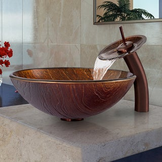 Vigo Kenyan Twilight Glass Vessel Sink and Waterfall Faucet Set