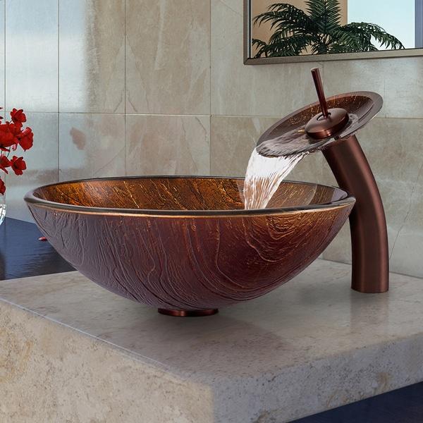 VIGO Kenyan Twilight Glass Vessel Sink and Waterfall Faucet Set ...