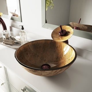 Vigo Amber Sunset Glass Vessel Sink and Waterfall Faucet Set