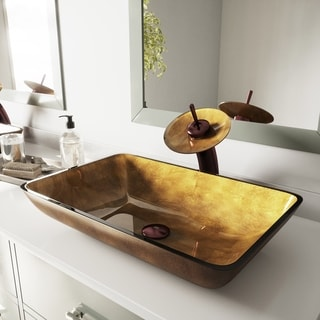 VIGO Copper Rectangular Glass Vessel Sink and Waterfall Faucet Set