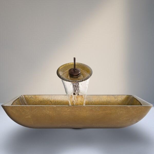 VIGO Copper Rectangular Glass Vessel Sink and Waterfall Faucet Set