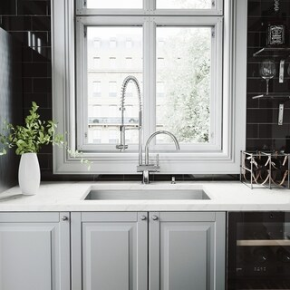 Vigo All in One 30-inch Steel Undermount Kitchen Sink and Chrome Faucet Set