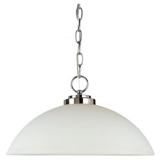 Sea Gull Lighting 1-light Chrome Finish Pendant with Etched Opal White Glass