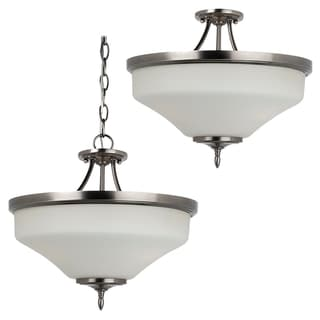 3-light Convertible Antique Brushed Nickel Semi-flush Pendant Light