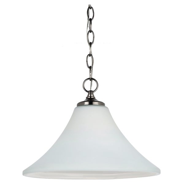 Sea Gull Lighting 1-light Antique Brushed Nickel Downlight Pendant with Satin Etched Glass