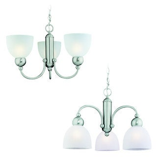 'Metropolis' Brushed Nickel 3-Light Chandelier