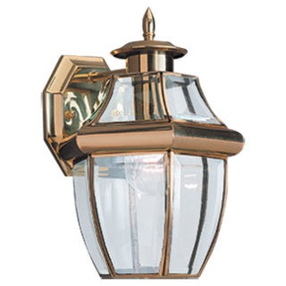 Sea Gull Lighting Lancaster One-Light 100-Watt Brass Outdoor Wall Lantern