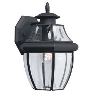 Sea Gull Lighting Lancaster 1-light Black Outdoor Wall Lantern with Beveled Glass