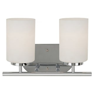 Oslo 2-Light Chrome Finish with Etched Opal White Glass Wall-mount Bathroom Fixture