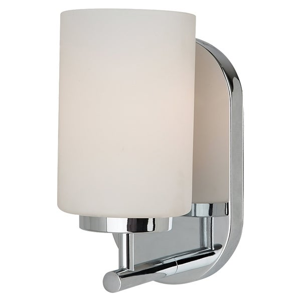 Oslo 1-Light Chrome Finish with Etched Opal White Glass Bathroom Wall Sconce