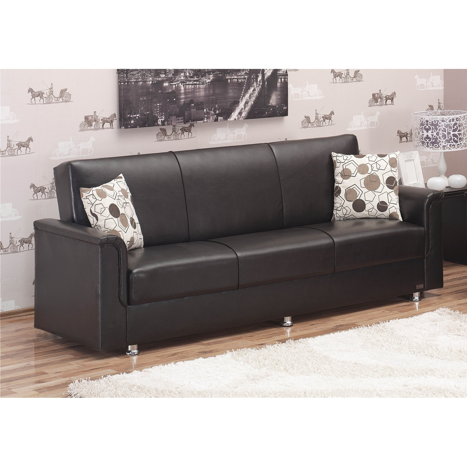 'Queens' Brown Bicast Leather Sofa Bed at Sears.com
