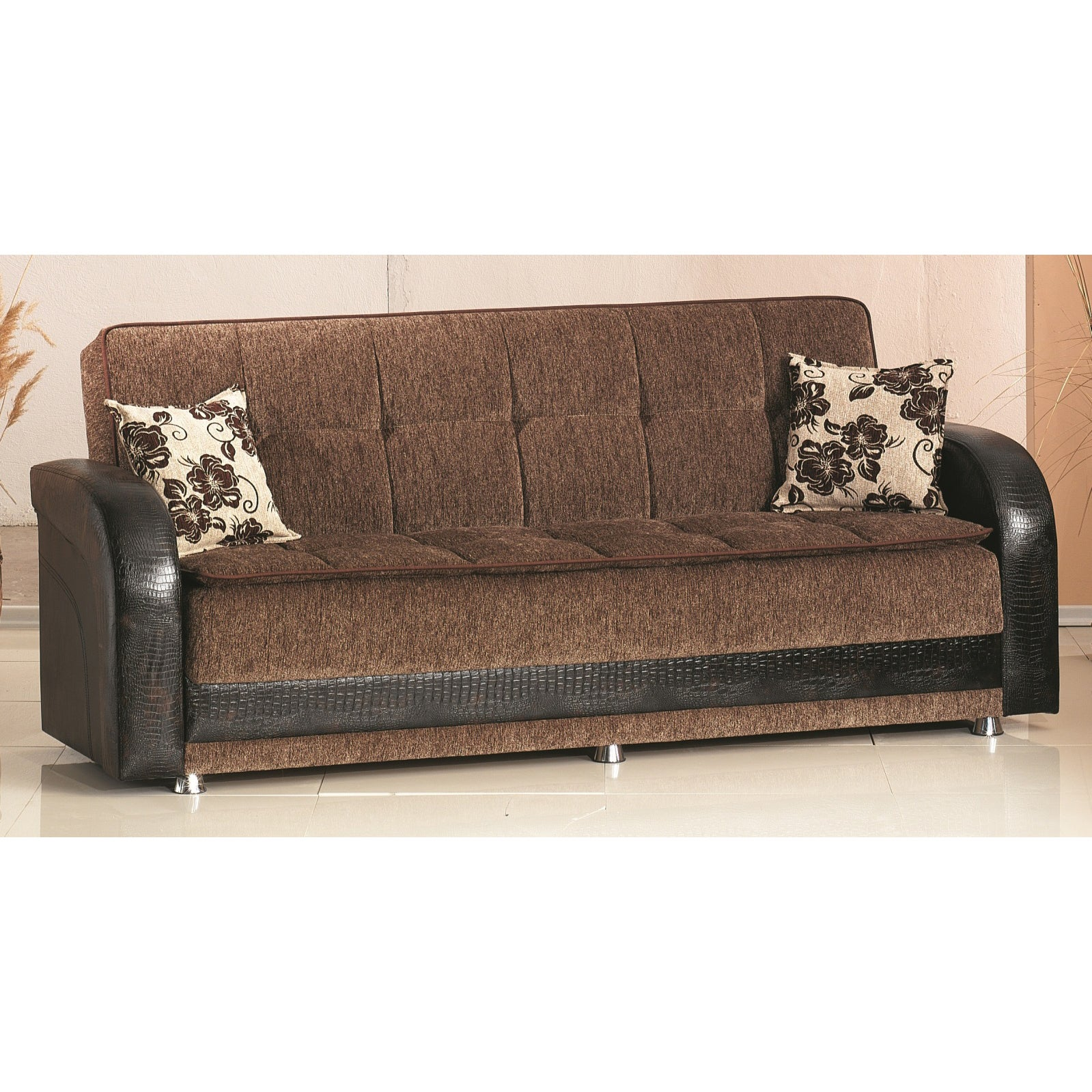 'Utica' Brown Bicast Leather and Fabric Sofa Bed at Sears.com