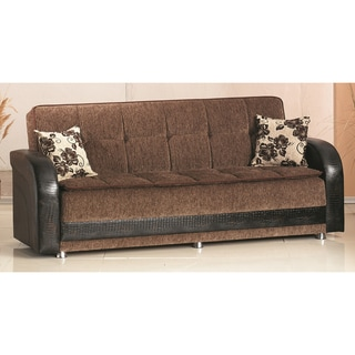 'Utica' Brown Bicast Leather and Fabric Sofa Bed