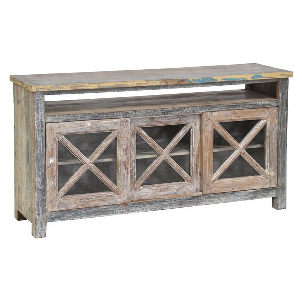 Kosas Home Snipe Reclaimed Wood 3-door TV Stand