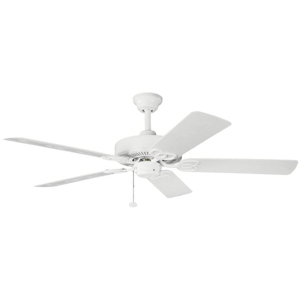 Satin Natural White Five-Blade Ceiling Fan with Mounting Hardware