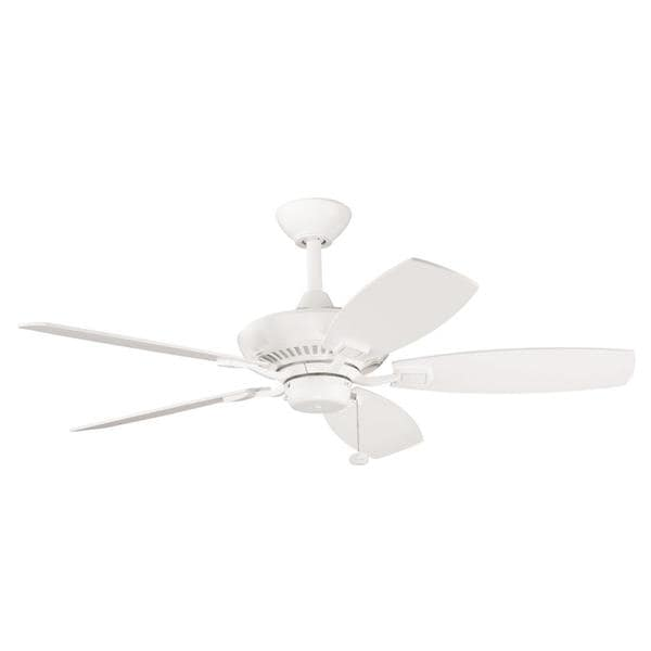 Satin Natural White Five-Blade Ceiling Fan with Pull-Chain Switch