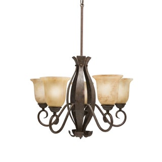 Transitional 5-Light Aged Iron Chandelier