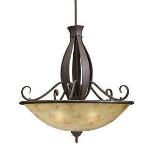 Transitional 3-Light Aged Iron Pendant