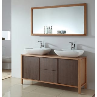Ceramic 59-inch Dual Basin Sink Bathroom Vanity with Matching Mirror