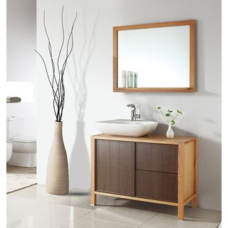 Ceramic 39-inch Basin Sink Bathroom Vanity with Matching Mirror
