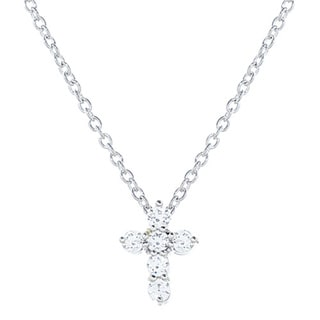 .925 Sterling Silver Cubic Zirconia Mini Cross Necklace