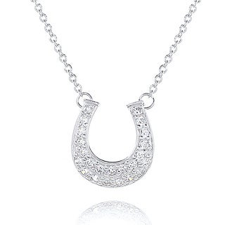Blue Box Jewels Sterling Silver Cubic Zircona Horseshoe Necklace
