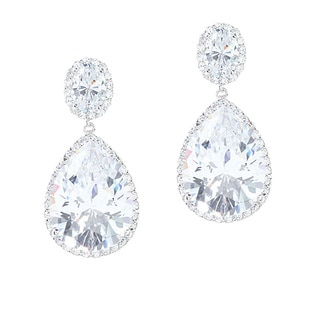 .925 Sterling Silver Pear Cut Cubic Zirconia Solitaire Dangle Earrings