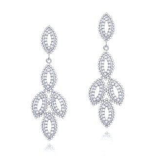 925 Sterling Silver Cubic Zirconia Leaflet Dangle Earrings