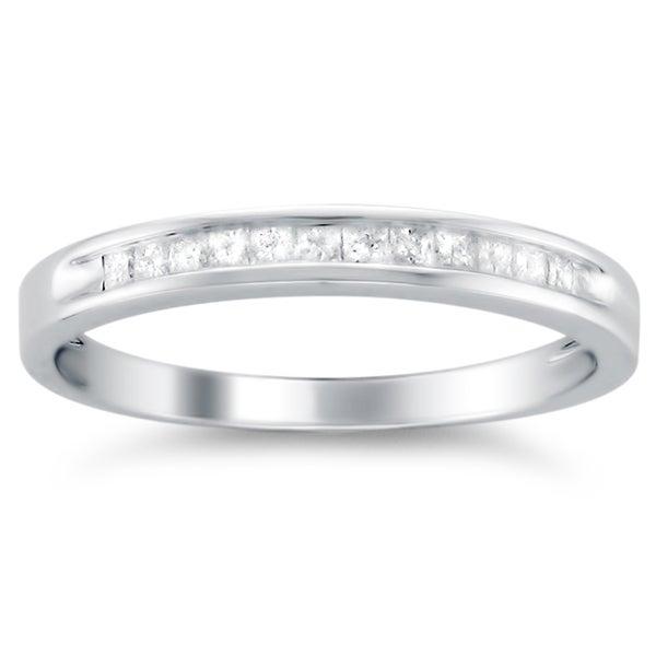 14k White Gold 1/4ct TDW Princess-cut Diamond Wedding Band (G-H, VS1-VS2)
