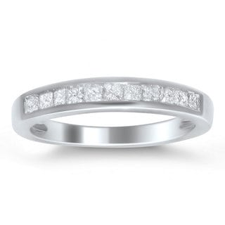 14k White Gold 1/2ct TDW Princess-cut Diamond Wedding Band (G-H, VS1-VS2)