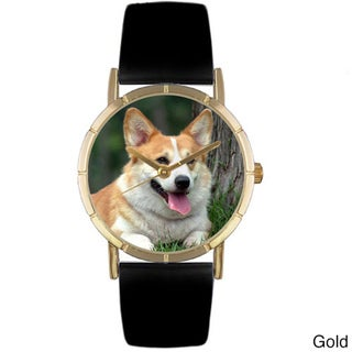 Whimsical Women's Corgi Photo Black Leather Strap Watch