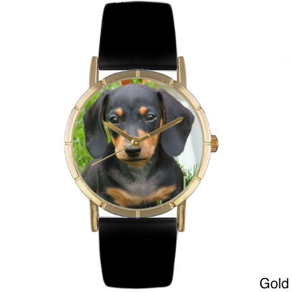 Whimsical Dachshund Photo Black Leather Strap Watch