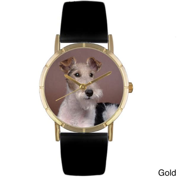 Whimsical Women's Fox Terrier Photo Black Leather Strap Watch