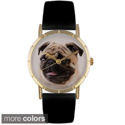 Whimsical Women's Pug Photo Black Leather Strap Watch