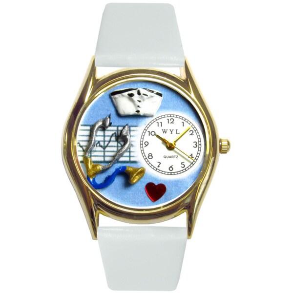 Nurse Blue White Leather Watch