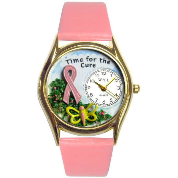 Time For The Cure Pink Leather Watch
