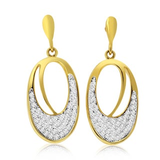 10k Yellow Gold 2/5ct TDW Diamond Oval Dangle Earrings
