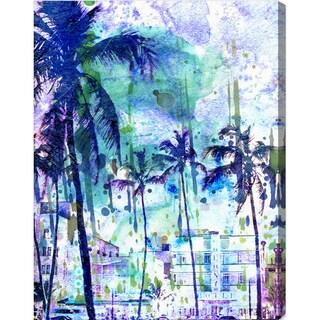 Oliver Gal 'Purple Miami' Modern Canvas Art