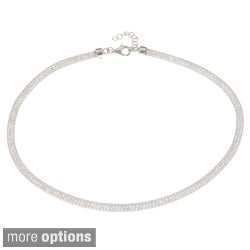 La Preciosa Sterling Silver 'Hidden' Crystal Mesh Necklace