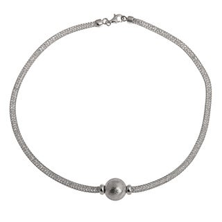 La Preciosa Sterling Silver 'Hidden' Crystal Mesh and Bead Necklace